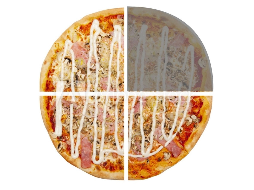 types of fractions: Pizza cut into four slices with one slice shaded