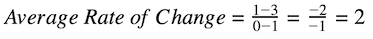 average rate of change for nonlinear