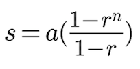 The formula on how to get the sum for the first n terms of a geometric series