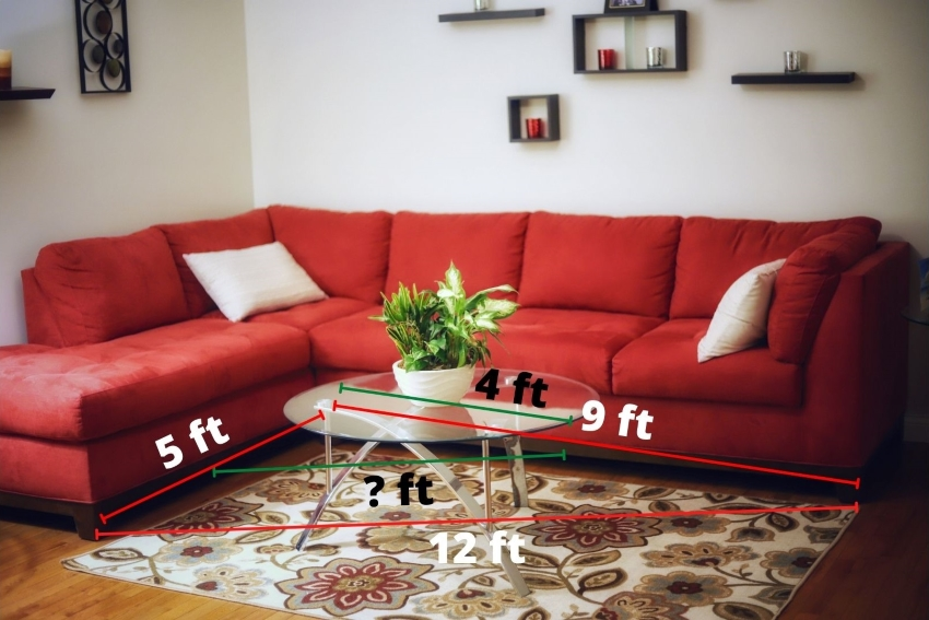 Photo of a living room with measurement of the rug indicated