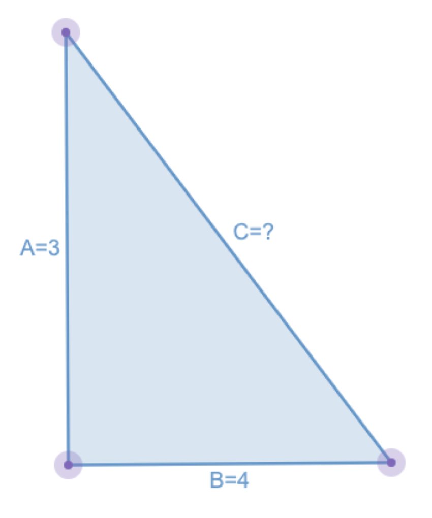 how to find hypotenuse: Diagram of a triangle with an unknown hypotenuse