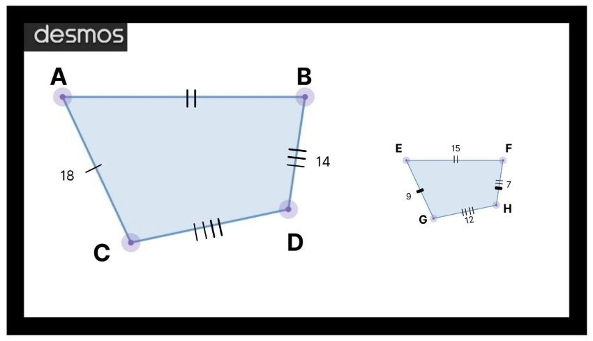 similar figures: Diagram showing two similar shape polygons where the ratios of the corresponding sides are equivalent