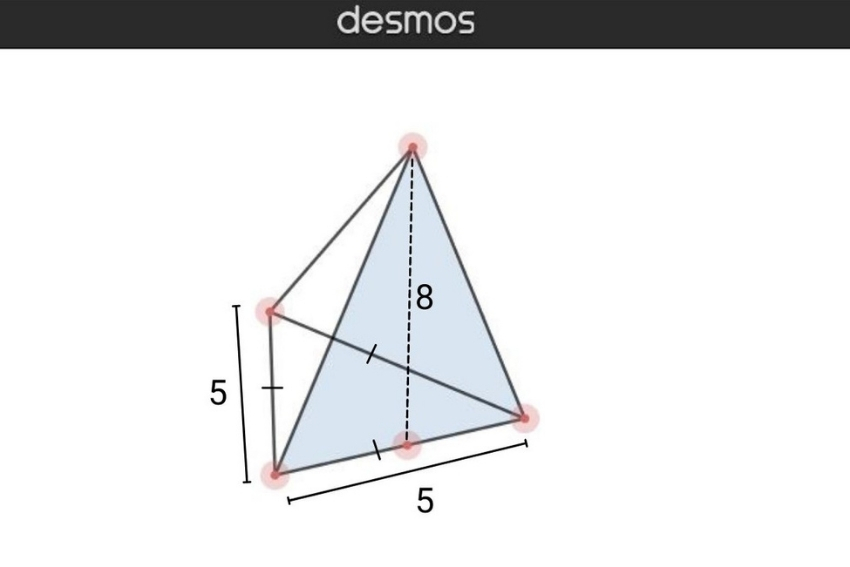 volume of pyramid: Formula for equilateral triangle base pyramid