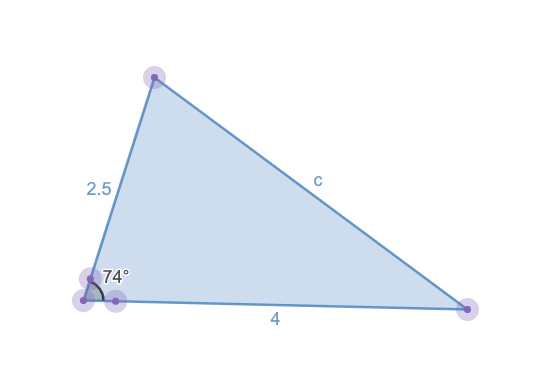 Example of the Law of Cosines in action