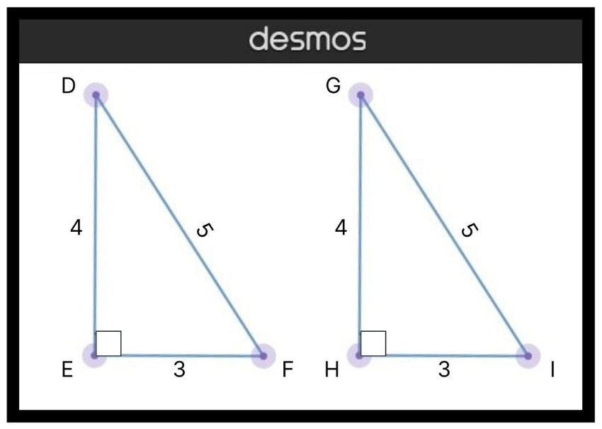 triangle rules: Diagram of two triangles with right angles
