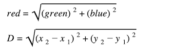distance and midpoint formula: Distance formula emerging with values being substituted