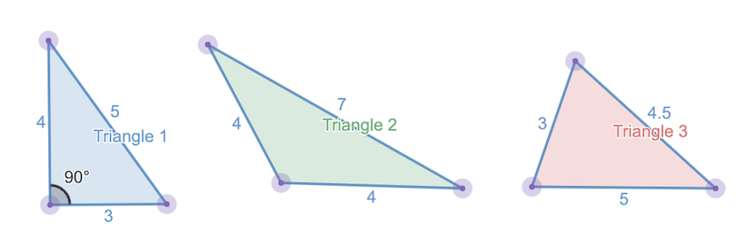converse of the pythagorean theorem: types of triangle