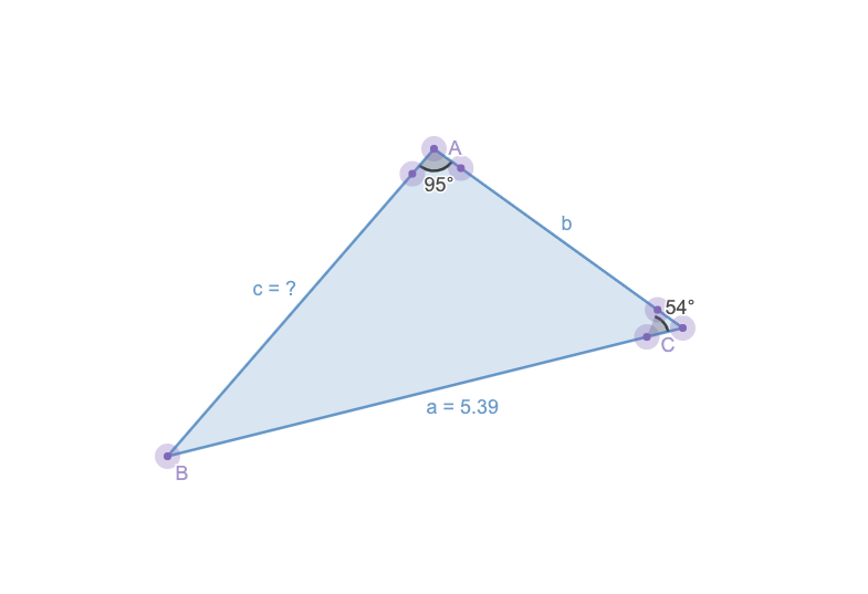 how to find the third side of a triangle: graph of the law of sines