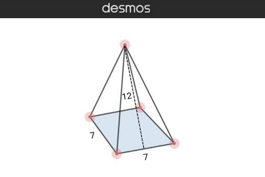 Image that shows how to determine the volume of a square-based or rectangular pyramid