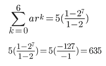 Specific example on how to get the sum of the first seven terms in a geometric series
