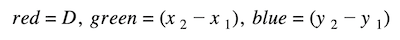 distance and midpoint formula: Pythagorean theorem formula subsituting the colors to its value