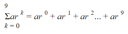 sum of finite geometric series: Diagram showing a sigma notation for summing up the first 10 terms of a finite geometric series