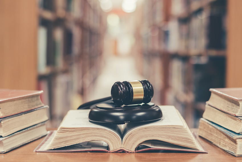 How to study for the LSAT: a judge's gavel on top of a law book