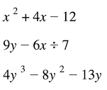 What is an algebraic expression: Trinomial expression