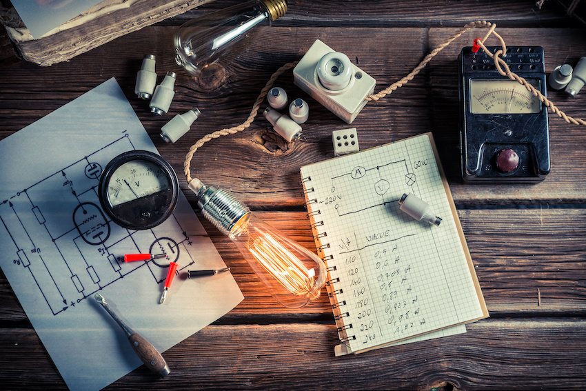 Light bulbs, electrical meters, and schematics