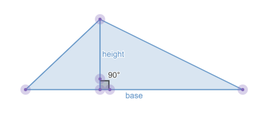 Triangle with a line segment showing the right angle