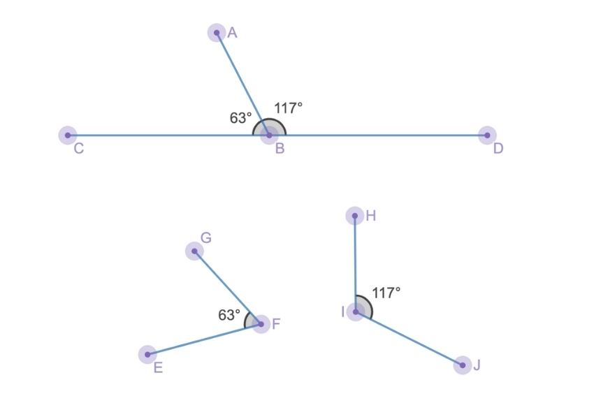 Diagram showing adjacent supplementary angles