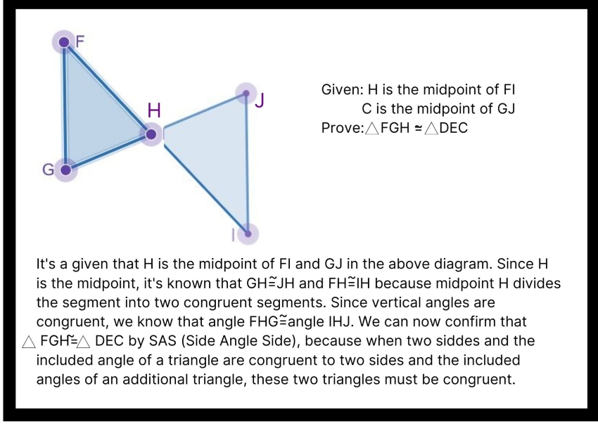 geometric proofs: Diagram showing a paragraph proof