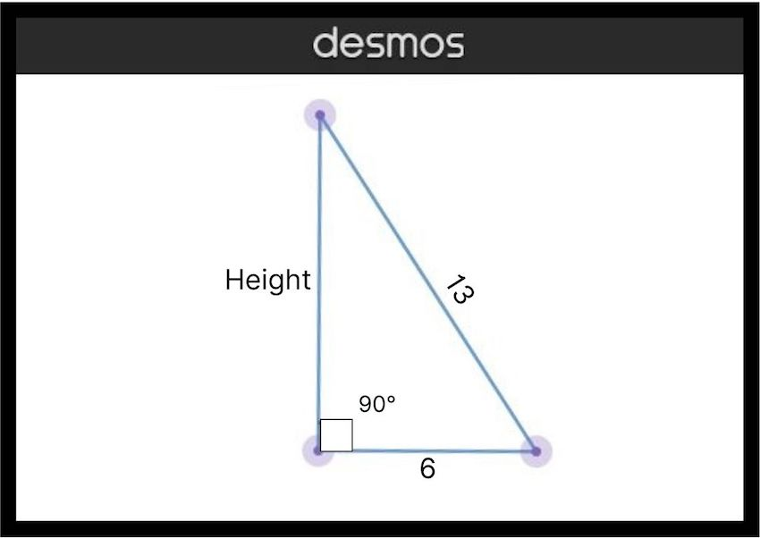 how to find height of a triangle: diagram of a right triangle