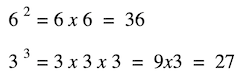 what is an exponent in math: examples of squaring and cubing
