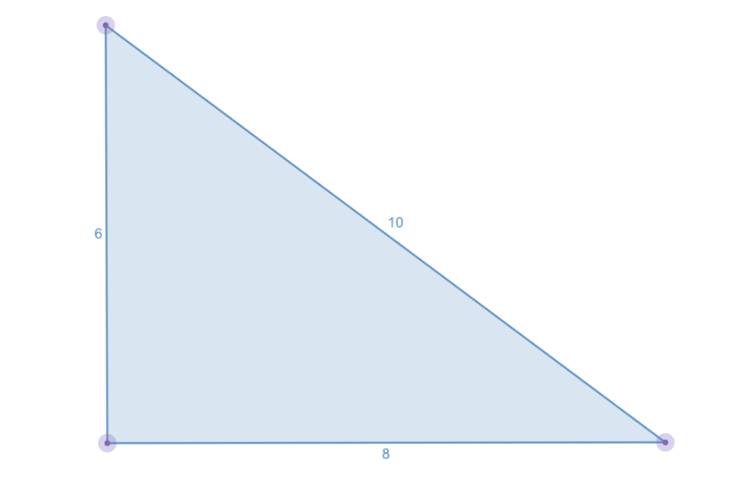 Image of a perfect triangle using the Pythagorean triples