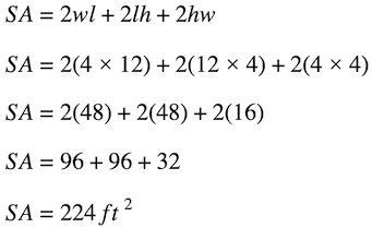 Formula for the surface area of a rectangular prism