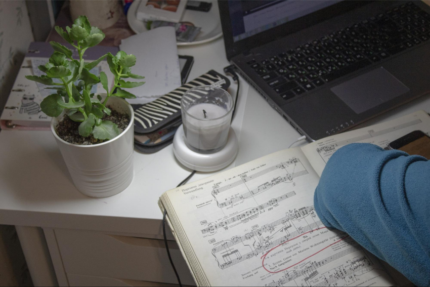 Music tutor: A laptop, music book, candle and plant on a table