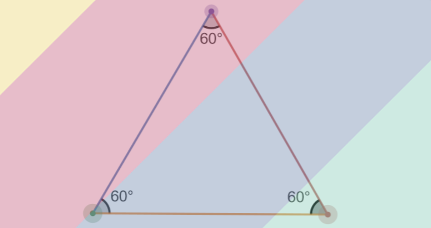 area of equilateral triangle: colorful equilateral triangle
