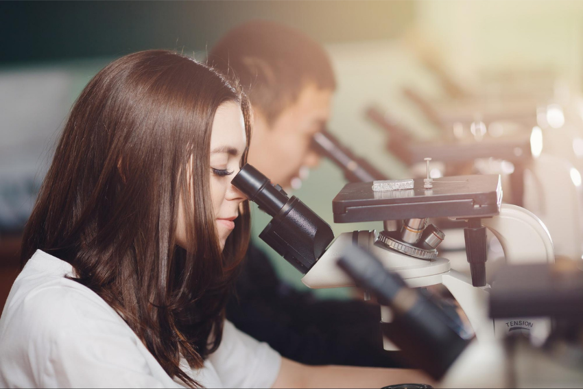 Biology tutor: Two students looking at a microscope