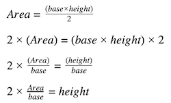 how to find height of a triangle: area formula
