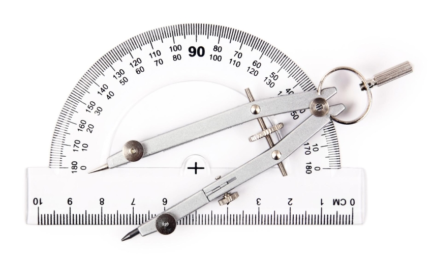 what is a 90 degree angle: Compass on top of a protactor against a white background