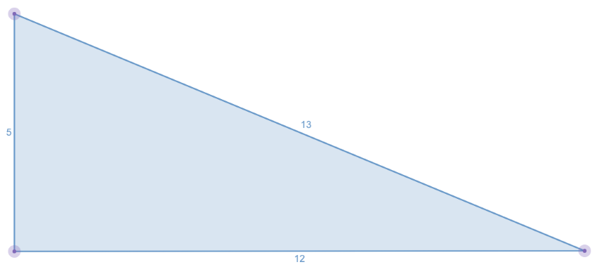 Image of a not perfect triangle using the Pythagorean triples