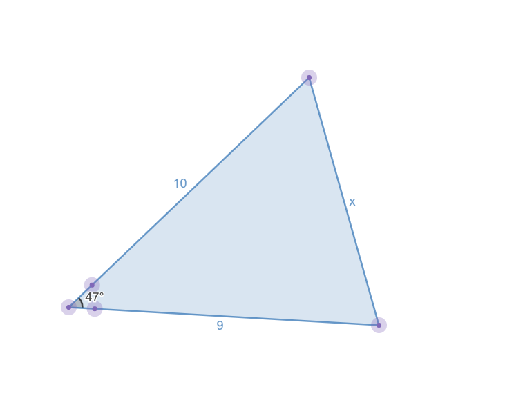 how to find the third side of a triangle: graph of the law of cosines