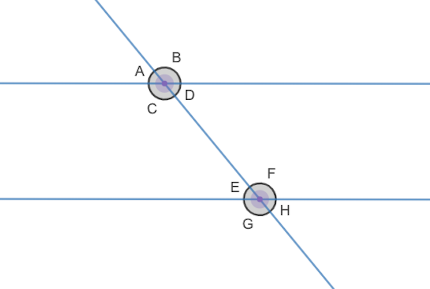parallel lines and transversals: vertical angles