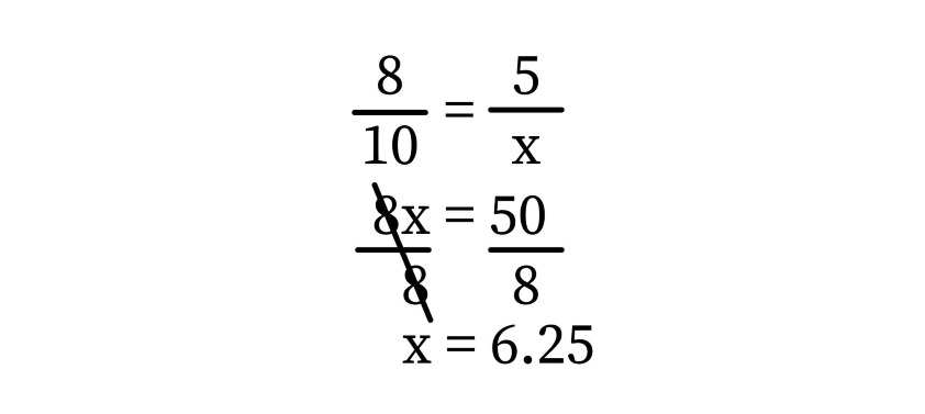 triangle proportionality theorem: Formula for the unknown length of one side of a triangle