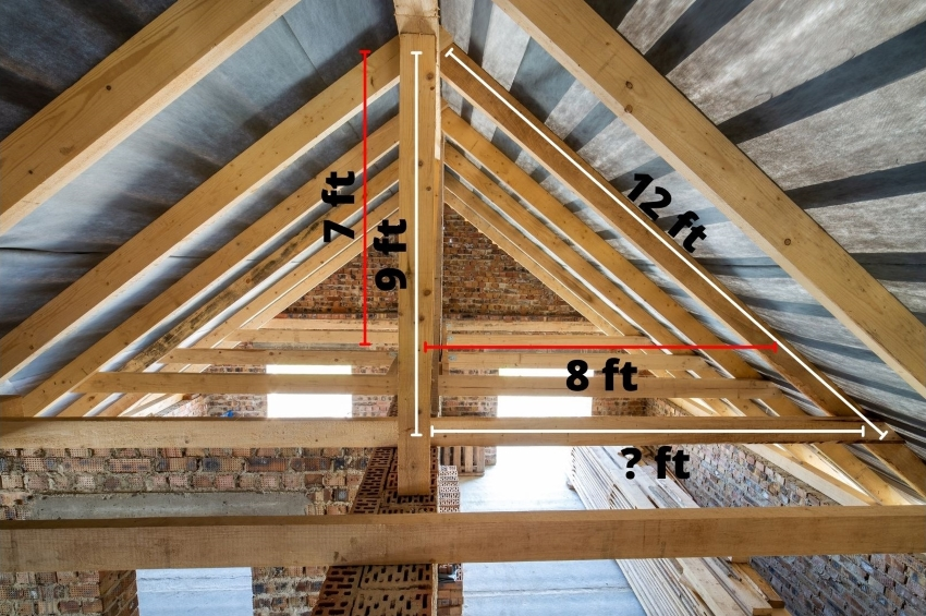 Picture of a roof with each support beam measurement is indicated