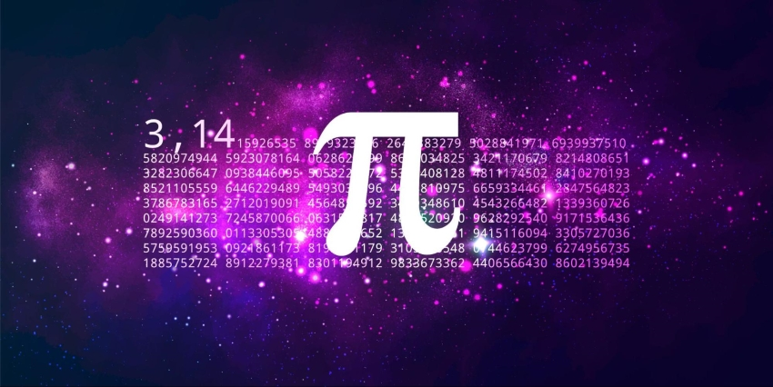 square root of pi: Symbol and value of pi against a galaxy background